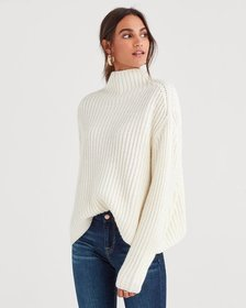 Chunky Turtleneck Sweater in Soft White