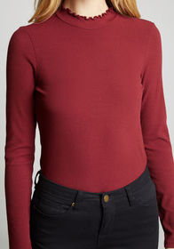 ModCloth Admired Archivist Knit Top in Burgundy
