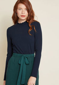 ModCloth ModCloth Admired Archivist Top in Navy Na