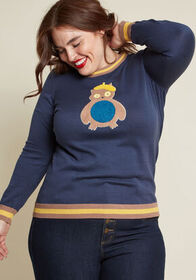 ModCloth Owl There Is to It Cotton-Modal Sweater N