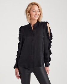 Cold Shoulder Ruffle Top in Jet Black