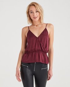 Wrap Front Cami in Dark Merlot