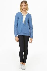 French Terry Lace-Up Pullover