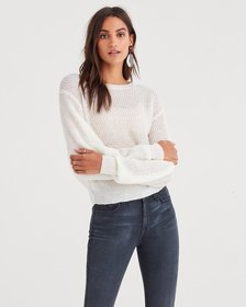 Open Weave Sweater in Soft White