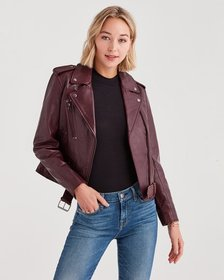 Leather Basic Biker Jacket in Black Bordeaux