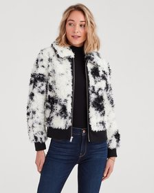Curly Sherpa and Leather Jacket in Black and Cream