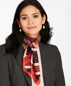 Mixed-Print Silk Square Scarf