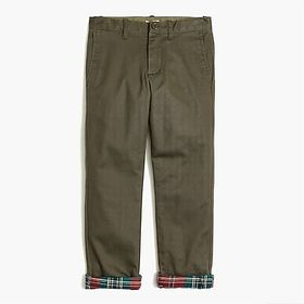 Boys' slim flannel-lined chino