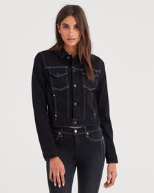 Cropped Jacket with White Stitching in Rinsed Nigh