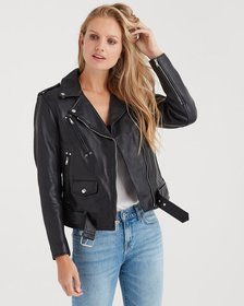 Basic Leather Biker Jacket in Black
