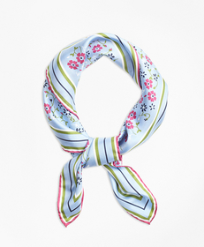 Floral-Print Silk Square Scarf