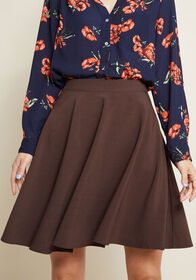 ModCloth ModCloth Just This Sway Skater Skirt Choc
