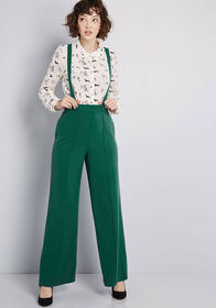 ModCloth Hold in Suspends Wide-Leg Pants in Green