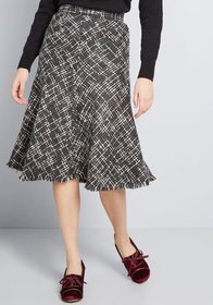 ModCloth Gal About Town Tweed Midi Skirt in Grey a