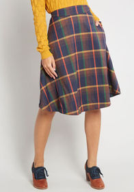 ModCloth ModCloth Prim Class Hero Midi Skirt in Na