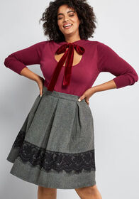 ModCloth Whirl Record A-Line Skirt in Grey Tweed