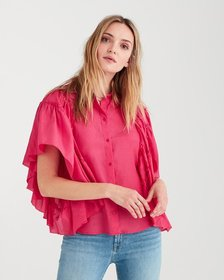 Butterfly Sleeve Top in Hot Pink