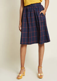 ModCloth ModCloth Refined Timing A-Line Skirt Navy