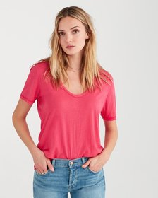 Curved Neck Tee in Hot Pink
