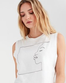 Profile Girl Muscle Tank in Optic White with Black
