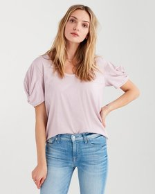 Twist Sleeve Tee in Pale Lavendar