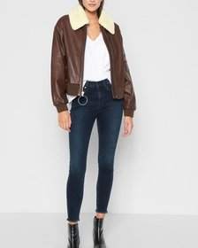 Leather Bomber with Sherpa in Cognac