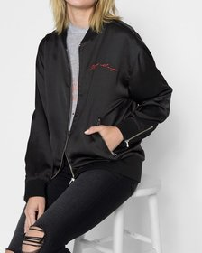 """Graphic Satin """"Things Change"""" Bomber in Black with"""