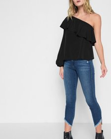 Off Shoulder One Sleeve Top in Black