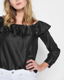 Long Sleeve Ruffled Off Shoulder Top in Black
