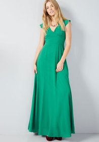 Opulent Engagement Maxi Dress Green
