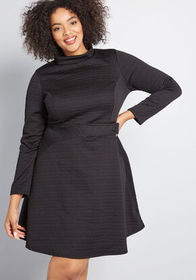ModCloth Taken by Texture Long Sleeve Dress in Bla