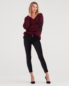 Velvet Ankle Skinny in Black