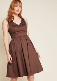 Triumphantly Timeless Pleated Dress in Chocolate