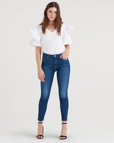 High Waist Ankle Skinny with Architecture at Cut O