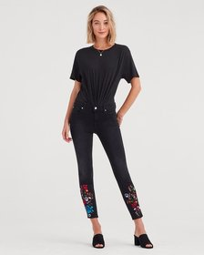 The Ankle Skinny with Embroidery in Black Sateen