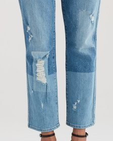 Edie with Patches in Laser Patched Denim