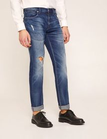 J13 SLIM-FIT BLOWOUT WASHED INDIGO JEAN
