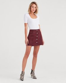Button Front Mini Skirt in Bordeaux