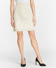 Floral-Embroidered Stretch Cotton-Twill Skirt