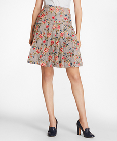 Floral-Embroidered Mini-Houndstooth Cotton Pleated