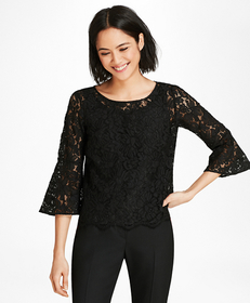 Floral Lace Bell Sleeve Blouse