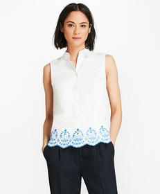 Floral-Embroidered Cotton Sateen Blouse