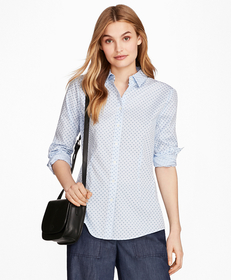 Floral-Print Stretch Cotton Gingham Shirt