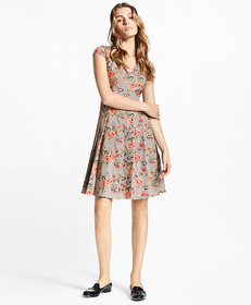 Floral-Embroidered Mini-Houndstooth Cotton Dress