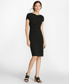Draped Crepe Sheath Dress