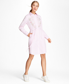 Floral-Embroidered Striped Cotton Poplin Shirt Dre
