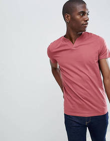 ASOS DESIGN t-shirt with notch neck in red