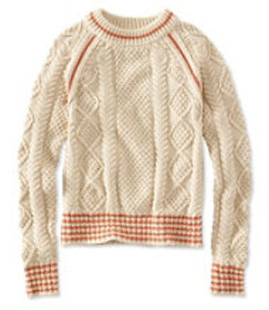 Signature Cotton Fisherman Sweater, Crewneck Tippe