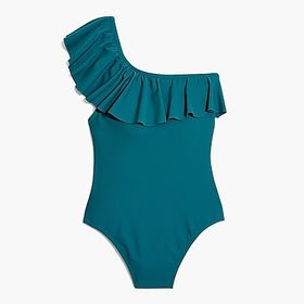 factory womens Ruffle one-shoulder one-piece swims