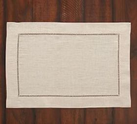 Linen Hemstitch Placemat, Set of 4 - Flax
